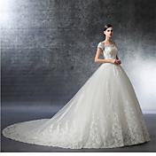 Una línea fuera del hombro catedral tren satinado vestido de novia con cuentas de cristal por drrs