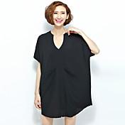 Mujer Simple Casual/Diario Verano Camiseta,Escote en Pico Un Color Manga Corta Poliéster Rojo / Negro Fino