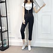 婦人向け シンプル コットン / ポリエステル ジャンプスーツ,伸縮性なし ミディアム ノースリーブ