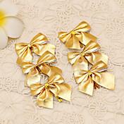12pcs suministros de caña de la flor de adorno banquete de fiesta decoración del árbol del estilo pajarita de oro de la Feliz Navidad