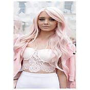 かつらを身に着けているfahshionピンクの長い波合成europueとアメリカの女性のdailry