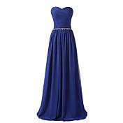 aラインの恋人の床の長さシフォンフォーマルなイブニングドレス(クリスタルディテール)