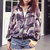 婦人向け お出かけ / カジュアル/普段着 秋 ジャケット,ストリートファッション スタンド カモフラージュ パープル ポリエステル 長袖 薄手