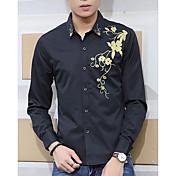 Hombre Casual/Diario Otoño Camisa Estampado Manga Larga Algodón