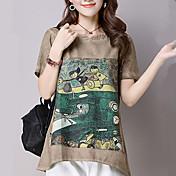 De las mujeres Chic de Calle Noche / Casual/Diario Primavera / Verano Camiseta,Escote Redondo Estampado Manga Corta AlgodónMarrón / Gris