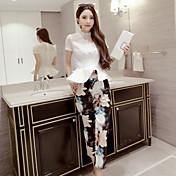 女性 お出かけ 春 セット スカート スーツ,ヴィンテージ / キュート クルーネック ソリッド ホワイト コットン 半袖 スモーキー