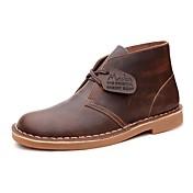 Hombre Zapatos Cuero Primavera Verano Otoño Invierno Botas de Moda Confort Botas Paseo Con Cordón Para Casual Work & Safety Negro Marrón