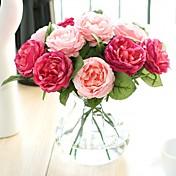 1 Větev Polyester Růže Květina na stůl Umělé květiny