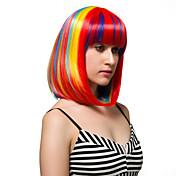 虹は短い髪、ファッションウィッグを色付け。