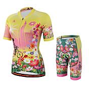 Miloto Maillot de Ciclismo con Shorts Mujer Manga Corta Bicicleta Camisas Sudadera Camiseta/Maillot Pecheros/Mallas Largas Con