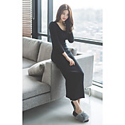 Mujer Vaina Vestido Casual/Diario Simple,Un Color Escote Redondo Midi Manga Larga Negro Otro Otoño Tiro Medio Elástico Medio