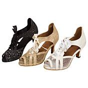Zapatos de baile(Negro / Blanco / Oro) -Latino / Salsa-Personalizables-Tacón Personalizado