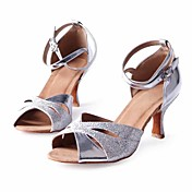 Obyčejné-Dámské-Taneční boty-Latina / Salsa-Třpytky-Nízký podpatek-Stříbrná
