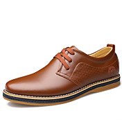 Hombre Zapatos Cuero Primavera Verano Otoño Invierno Confort Oxfords Paseo Con Cordón Para Casual Negro Marrón