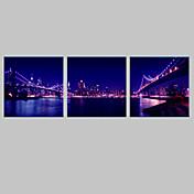 3セットLEDライト付きの電子home®市ブリッジの夜キャンバスプリント