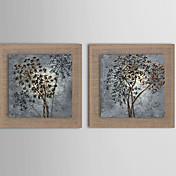 手描きの 抽象画 / 風景 / ファンタジー / 花柄/植物の 油彩画,欧風 / Modern / リアリズム 2枚 キャンバス ハング塗装油絵 For ホームデコレーション