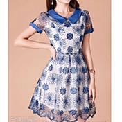 Chaoliuショートスリーブオーガンザのドレス(ブルー)