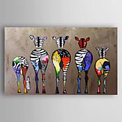 Pintada a mano Animal Horizontal,Modern Un Panel Lienzos Pintura al óleo pintada a colgar For Decoración hogareña