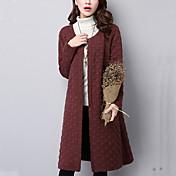 Feminino Casaco Casual Fofo Outono / Inverno,Sólido Azul / Vermelho / Cinza Algodão Decote Redondo-Manga Longa Média