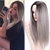 ウィッグの合成かつらの長いストレートの髪の耐熱性合成かつら女性オンブル灰色のかつら