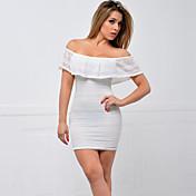 Dámské Sexy / Jednoduché Běžné/Denní / Společenské Bodycon Šaty Jednobarevné,Bez rukávů Úzký výstřih Nad kolena Bílá / Černá Polyester