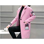 Mujer Chic de Calle Casual/Diario Estampado Abrigo,Solapa de Pico Manga Larga Invierno Poliéster Rosa / Rojo / Gris Medio