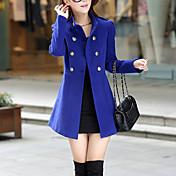 Mujer Vintage Trabajo Un Color Abrigo,Escote Chino Manga Larga Otoño / Invierno Lana / Algodón Azul / Rojo / Verde