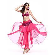 Dança do Ventre Roupa Mulheres Actuação Elastano Poliéster Pano 3 Peças Saia Sutiã Cinto