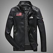 男性 カジュアル/普段着 冬 ソリッド レザージャケット,ヴィンテージ スタンド ブラック / ブラウン ポリウレタン 長袖 厚手