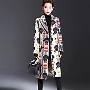 女性 カジュアル/普段着 / プラスサイズ 冬 ジャカード コート,ヴィンテージ シャツカラー ホワイト ポリエステル 長袖