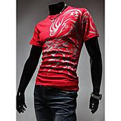 メンズ カジュアル/普段着 Tシャツ,シンプル ストラップ プリント コットン 半袖