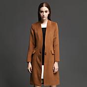 女性 カジュアル/普段着 冬 ソリッド コート,シンプル スタンド ブラウン ポリエステル 長袖 厚手