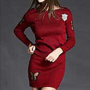 Mujer Simple Casual/Diario Otoño / Invierno Conjunto Falda Trajes,Escote Redondo Un Color Manga Larga Poliéster Rojo / Negro / Gris Medio