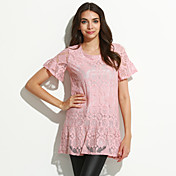 De las mujeres Simple Casual/Diario Primavera / Verano Camiseta,Escote Redondo Un Color Manga Corta Algodón Rosa / Gris Medio