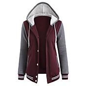 La chaqueta con capucha Casual/Diario Activo Bloques Escote Redondo Microelástico Algodón Manga Larga Otoño Invierno