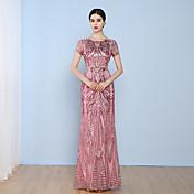 シース/コラムジュエルネックフロアの長さチュールのスパンコール付きフォーマルイブニングドレス