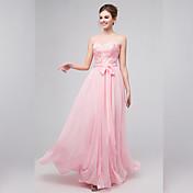 アップリケとaラインの恋人の床の長さのシフォンの花嫁介添人のドレス