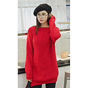 Mujer Largo Cardigan Casual/Diario Simple,Un Color Rojo Escote Redondo Manga Larga Acrílico Otoño Invierno Medio Rígido