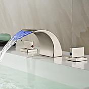 アールデコ調/レトロ風 組み合わせ式 LED / 滝状吐水タイプ with  セラミックバルブ 二つのハンドル三穴 for  ブラッシュドニッケル , バスルームのシンクの蛇口