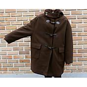 女性 カジュアル/普段着 冬 ソリッド コート,シンプル ブルー / ブラウン ポリエステル 長袖 厚手