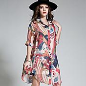 Firkantet hals Tynd Damer Regnbue Alle årstider Vintage Simpel Boheme I-byen-tøj Strand Plusstørrelser Skjorte,Rayon Polyester