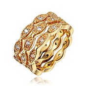 指輪 キュービックジルコニア ゴールドメッキ 18K 金 ゴールド ホワイト ジュエリー 結婚式 パーティー 日常 カジュアル 1個