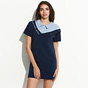 De las mujeres Camisa Vestido Noche / Casual/Diario Simple,Retazos / Bordado Cuello Camisero Sobre la rodilla Manga Corta Azul Algodón