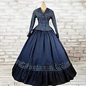Felszerelések Klasszikus és hagyományos Lolita Lolita Cosplay Lolita ruhák Kék Skótmintás Hosszú ujj Hosszú hossz Felső Ruha Mert Pamut