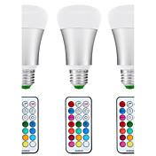 10W E26/E27 LEDボール型電球 A80 1 COB 1200 lm ナチュラルホワイト / RGB 明るさ調整 / リモコン操作 / センサー / 装飾用 / 防水 V 3個