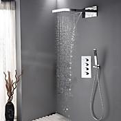 現代風 シャワーシステム 滝状吐水タイプ / レインシャワー / ハンドシャワーは含まれている with  セラミックバルブ 四ハンドル三穴 for  クロム , シャワー水栓