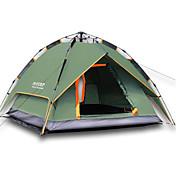 2人 テント トリプル 自動テント 1つのルーム キャンプテント 2000-3000 mm 防湿 通気性 速乾性 防雨 防風性 保温-ハイキング キャンピング 旅行 狩猟-グリーン
