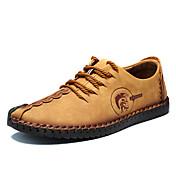 Hombre Zapatos Cuero Primavera Verano Otoño Invierno Confort Oxfords Con Cordón Para Casual Negro Amarillo Caqui