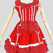 Una Sola Pieza/Vestidos Amaloli Princesa Cosplay Vestido  de Lolita Un Color Manga Corta Hasta la Rodilla Vestido por Algodón