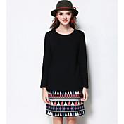 Mujer Recto Vestido Noche / Casual/Diario / Tallas Grandes Simple / Chic de Calle / Activo,Un Color / Estampado Escote RedondoSobre la